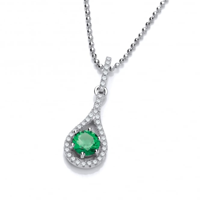 DiamonDust Jewellery Sterling Silver Fine Green Tear Drop Necklace Made With Swarovski Zirconia