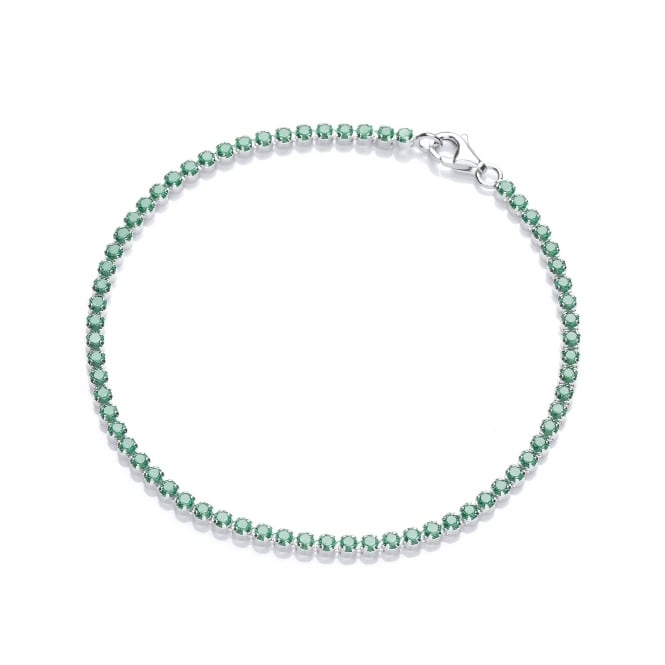 DiamonDust Jewellery Sterling Silver Fine Green Tennis Bracelet Made with Swarovski Zirconia