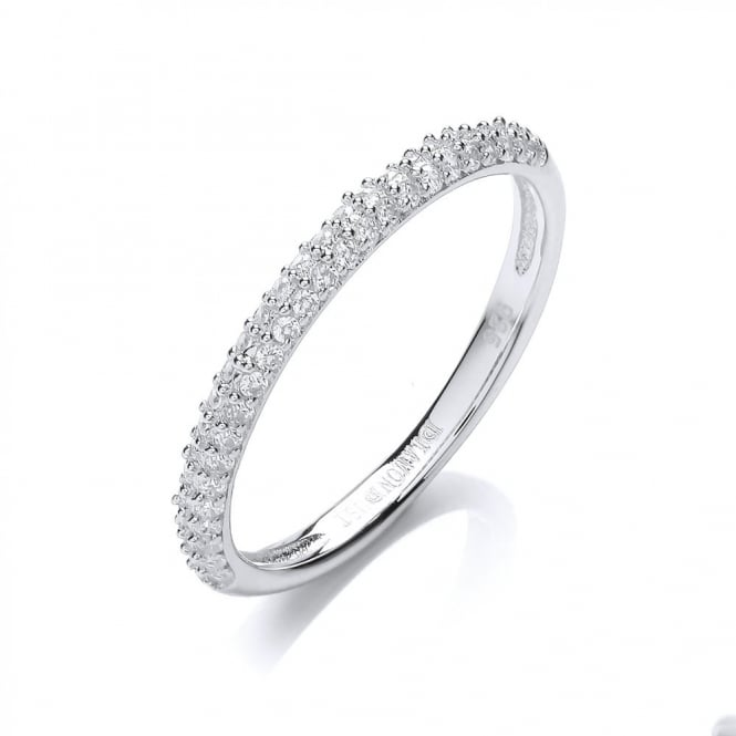 DiamonDust Jewellery Sterling Silver Fine Half Eternity Ring Created with Swarovski® Zirconia