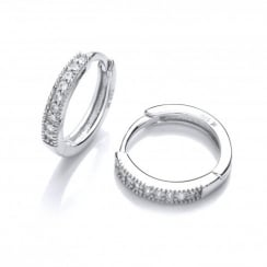 Sterling Silver Fine Round Hoop Earrings Created with Swarovski® Zirconia