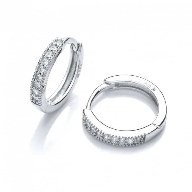 DiamonDust Jewellery Sterling Silver Fine Round Hoop Earrings Made With Swarovski Zirconia