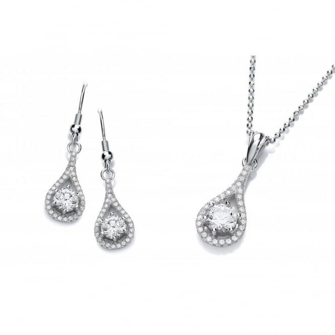 DiamonDust Jewellery Sterling Silver Fine Tear Drop Set Necklace & Earrings Created with Swarovski® Zirconia