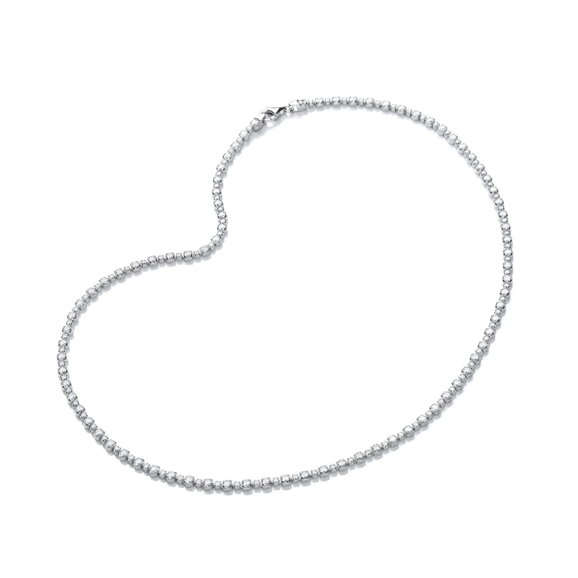 Sterling Silver Tennis Necklace Swarovski Zirconia Fine Tennis Necklace