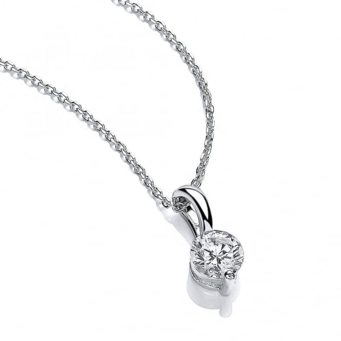 DiamonDust Jewellery Sterling Silver Flash Solitaire Pendant & Chain Made with Swarovski Zirconia