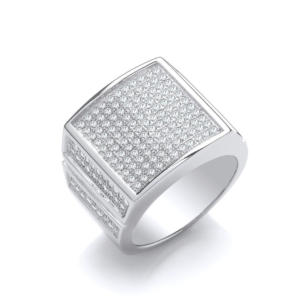 5d356c258e9a3 Sterling Silver Frosted Pave Ring Created with Swarovski Zirconia