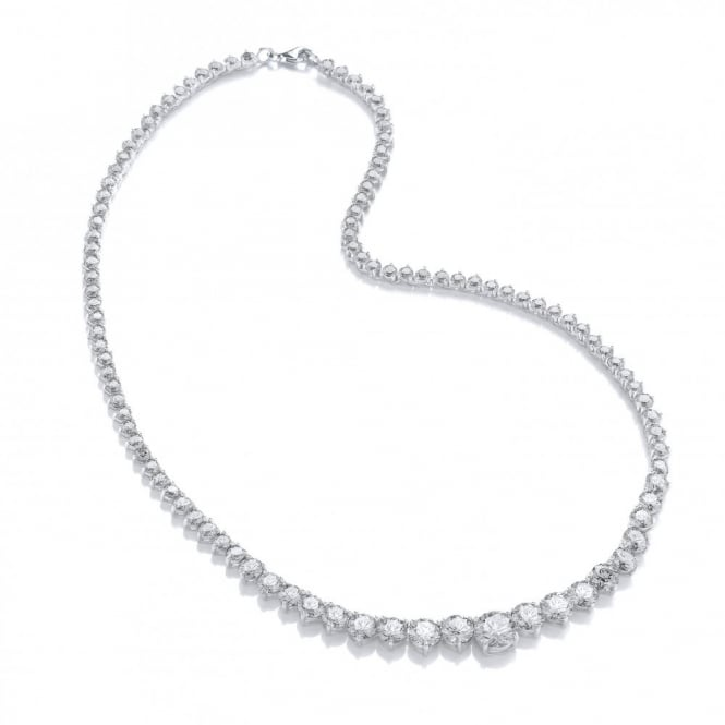 DiamonDust Jewellery Sterling Silver Graduated Tennis Style Necklace Made with Swarovski Zirconia