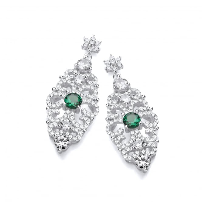 DiamonDust Jewellery Sterling Silver Green Antique Style Drop Earrings Created with Swarovski® Zirconia