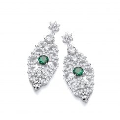 Sterling Silver Green Antique Style Drop Earrings Made with Swarovski® Zirconia