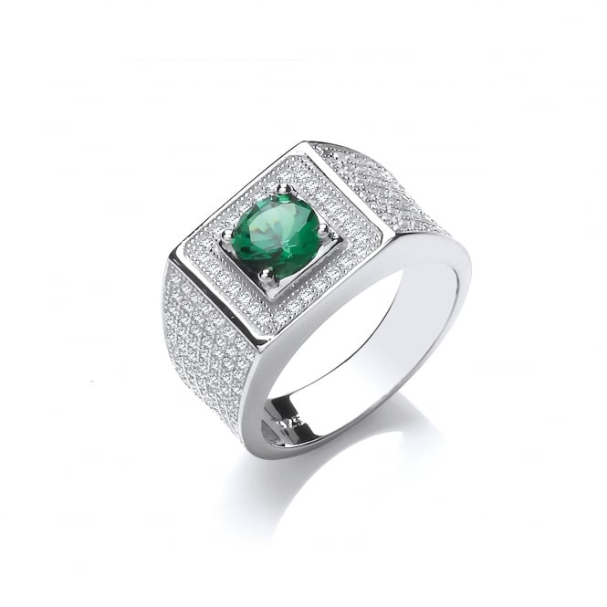 DiamonDust Jewellery Sterling Silver Green Chunky Pave Set Ring Created With Swarovski® Zirconia