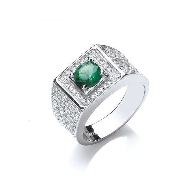 DiamonDust Jewellery Sterling Silver Green Chunky Pave Set Ring Created With Swarovski® Zirconia
