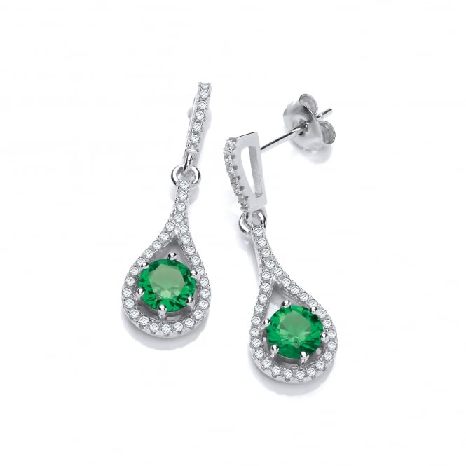 DiamonDust Jewellery Sterling Silver Green Drop Earrings On Studs Made With Swarovski Zirconia