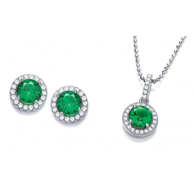 DiamonDust Jewellery Sterling Silver Green Round Cluster Necklace & Earrings Set Made with Swarovski Zirconia
