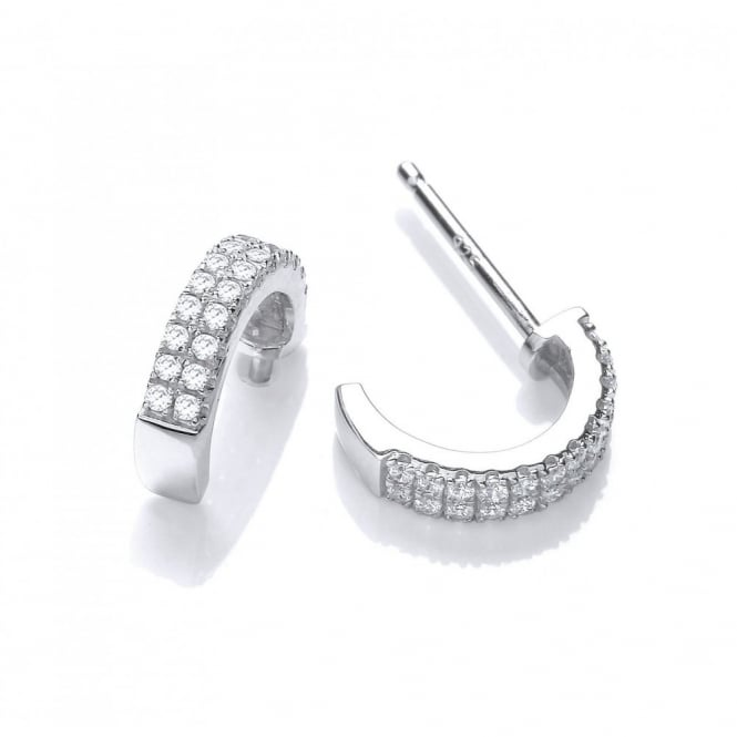 DiamonDust Jewellery Sterling Silver Half Hoop Earrings Created with Swarovski® Zirconia