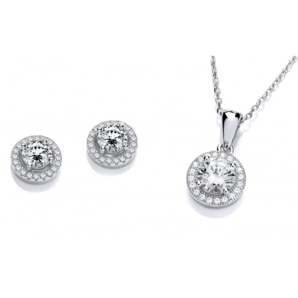 Sterling Silver Halo Necklace  amp  Earrings Set Created with Swarovski  Zirconia 043cdafee4ea