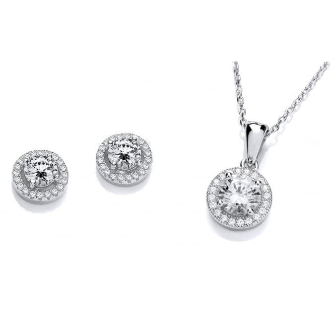 DiamonDust Jewellery Sterling Silver Halo Necklace & Earrings Set Created with Swarovski® Zirconia