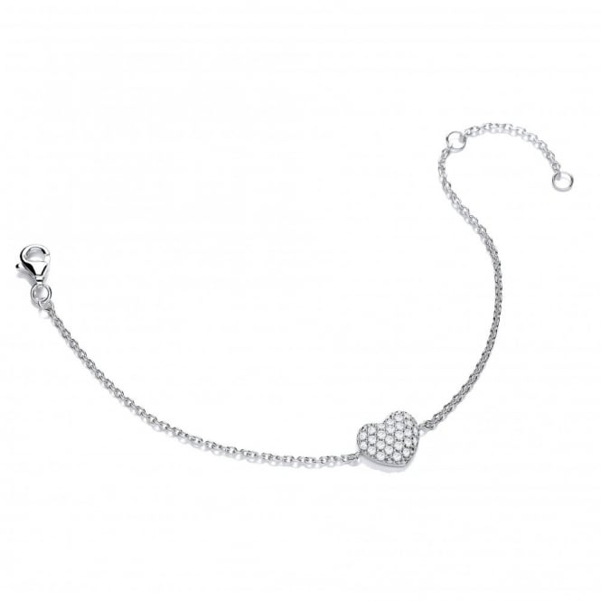 DiamonDust Jewellery Sterling Silver Heart Bracelet Made with Swarovski Zirconia