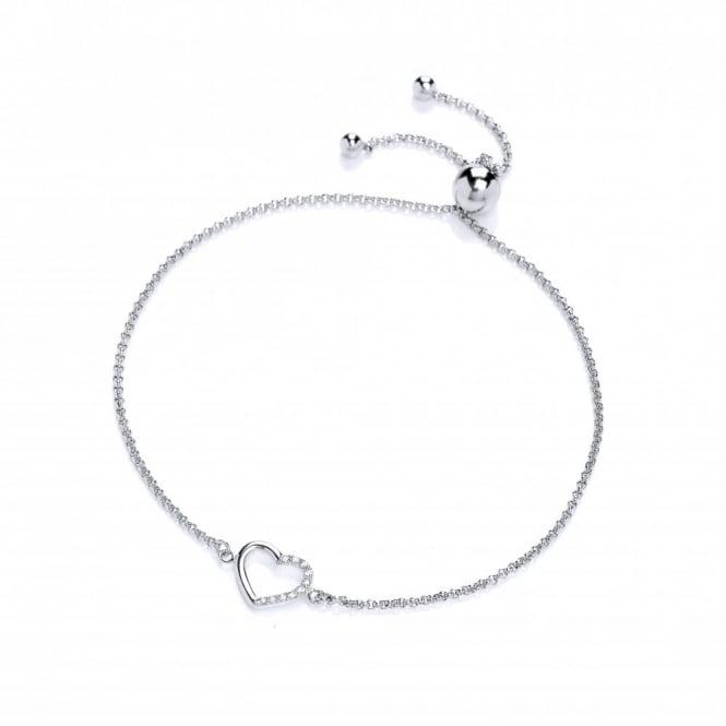 DiamonDust Jewellery Sterling Silver Heart Friendship Bracelet Created with Swarovski® Zirconia