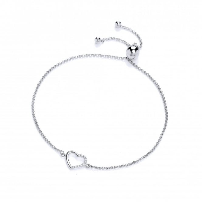 DiamonDust Jewellery Sterling Silver Heart Friendship Bracelet