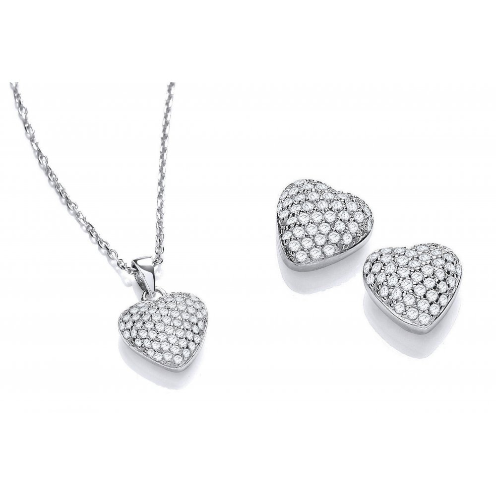 17fdaf349 Sterling Silver Heart Set Necklace & Earrings Created with Swarovski  Zirconia