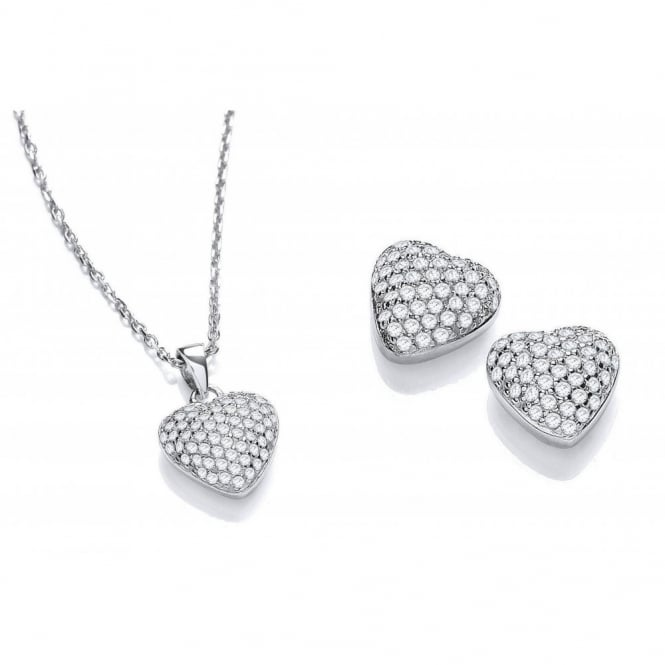DiamonDust Jewellery Sterling Silver Heart Set Necklace & Earrings Created with Swarovski® Zirconia