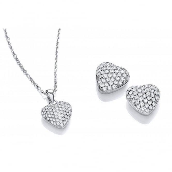 DiamonDust Jewellery Sterling Silver Heart Set Necklace & Earrings Made with Swarovski Zirconia
