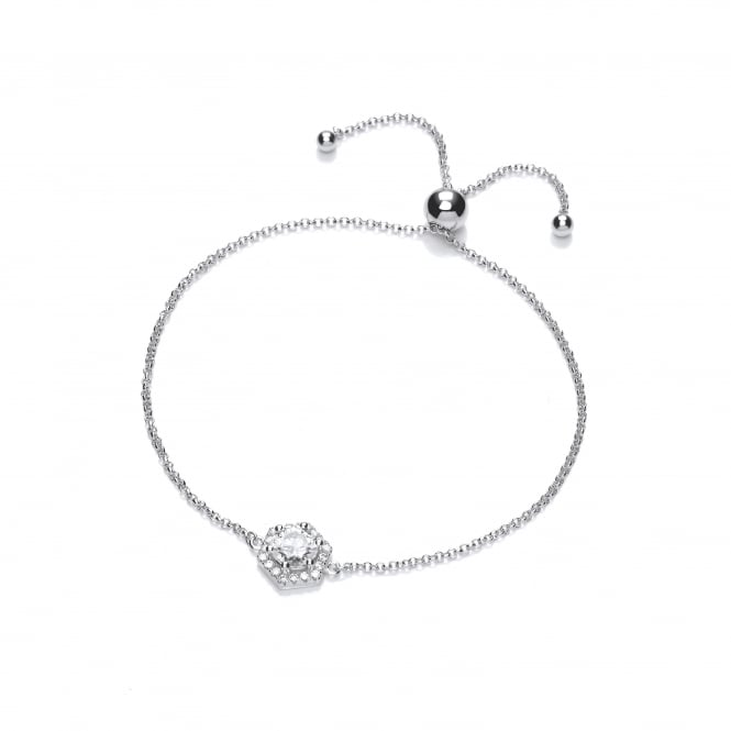 DiamonDust Jewellery Sterling Silver Hexagon Style Adjustable Bracelet Made with Swarovski Zirconia