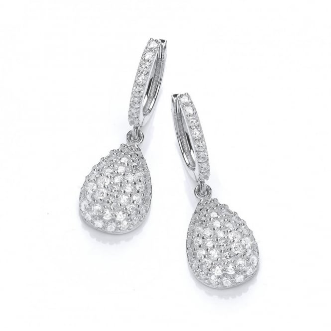 DiamonDust Jewellery Sterling Silver Hoop with Drop Earrings Made with Swarovski Zirconia