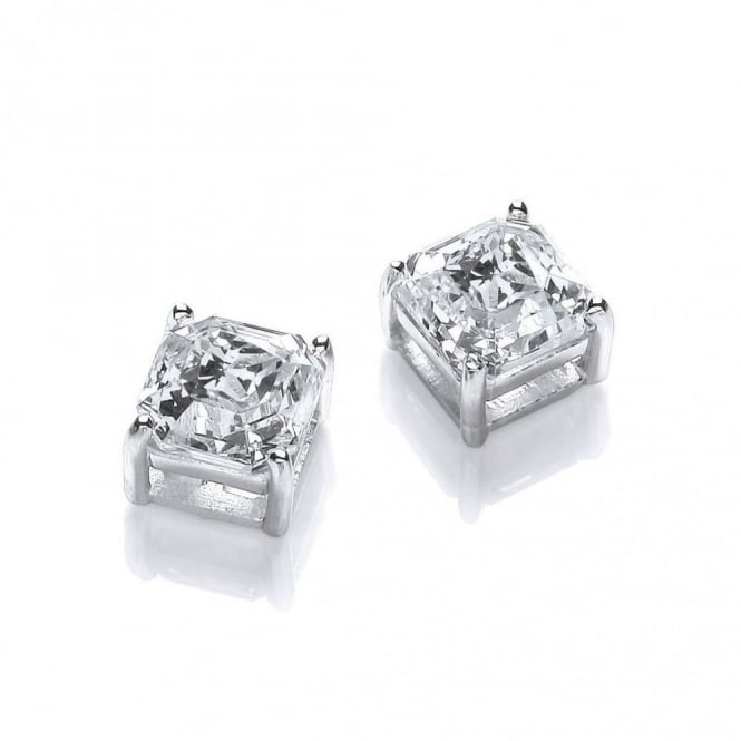 DiamonDust Jewellery Sterling Silver Imperial Cut Square Solitaire Studs Created with Swarovski® Zirconia