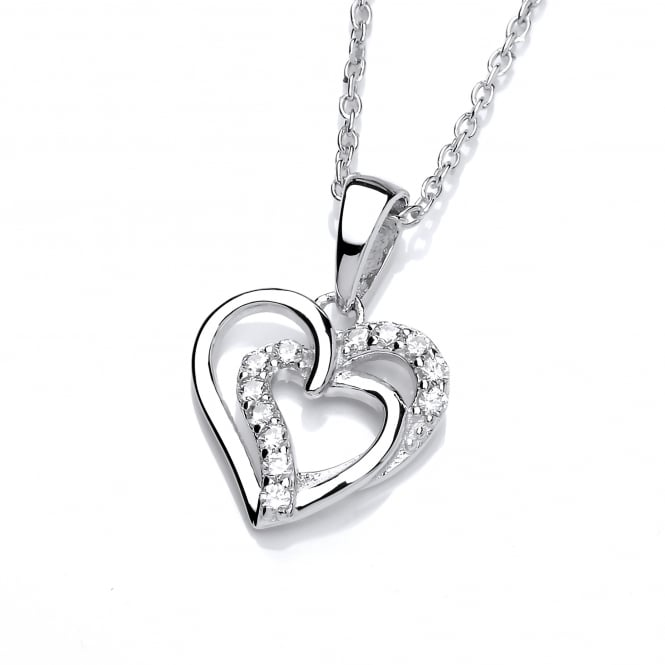 DiamonDust Jewellery Sterling Silver Intertwined Hearts Necklace Created with Swarovski® Zirconia