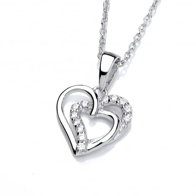 DiamonDust Jewellery Sterling Silver Intertwined Hearts Necklace Made with Swarovski Zirconia
