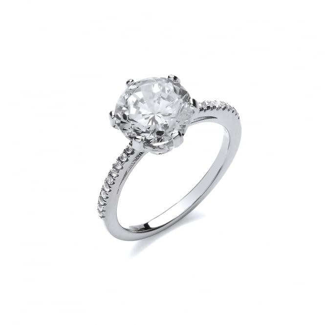 DiamonDust Jewellery Sterling Silver Large Claw Set Solitaire Ring Created with Swarovski® Zirconia