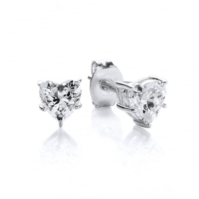 DiamonDust Jewellery Sterling Silver Mini Heart Claw Set Studs Created with Swarovski® Zirconia