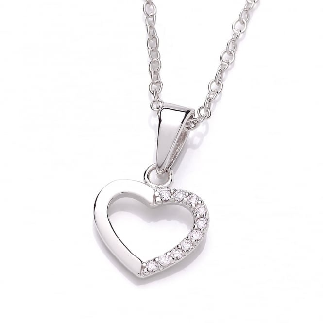 DiamonDust Jewellery Sterling Silver Mini Hollow Heart Pendant & Chain Made with Swarovski Zirconia