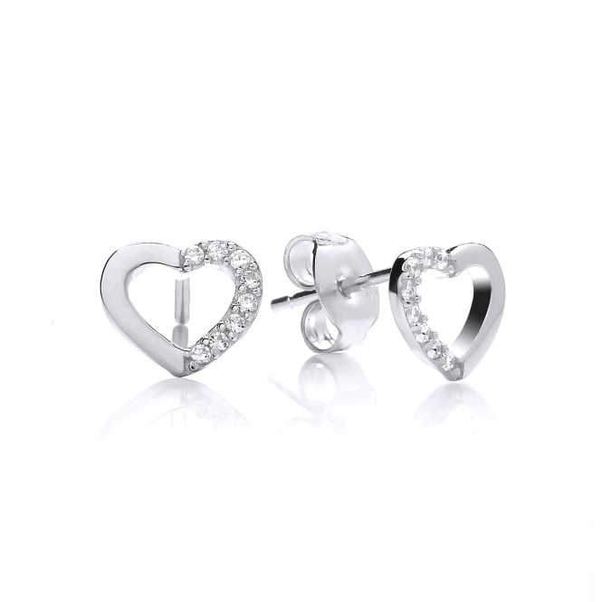 DiamonDust Jewellery Sterling Silver Mini Hollow Heart Stud Earrings Created with Swarovski® Zirconia