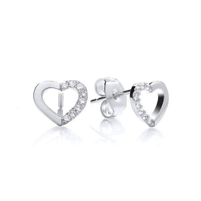 DiamonDust Jewellery Sterling Silver Mini Hollow Heart Stud Earrings Made with Swarovski Zirconia