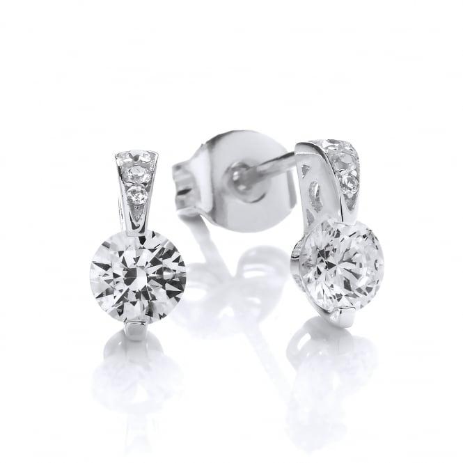 DiamonDust Jewellery Sterling Silver Mini Ornately Set Solitaire Earrings Created with Swarovski® Zirconia