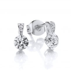 Sterling Silver Mini Ornately Set Solitaire Earrings Created with Swarovski® Zirconia