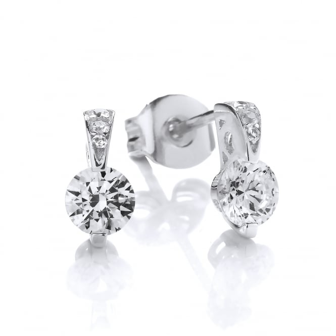 DiamonDust Jewellery Sterling Silver Mini Ornately Set Solitaire Earrings Made with Swarovski Zirconia