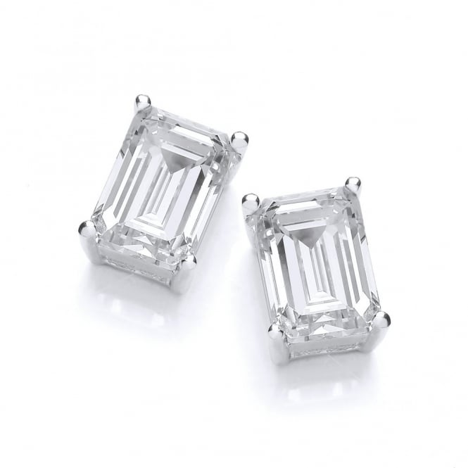 DiamonDust Jewellery Sterling Silver Octagon Cut Stud Earrings Made With Swarovski Zirconia