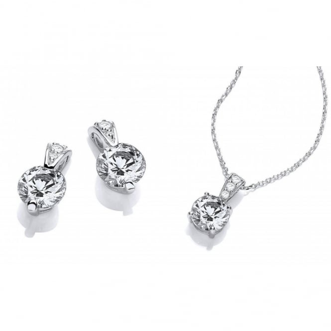 DiamonDust Jewellery Sterling Silver Ornate Solitaire Set Necklace & Earrings Made with Swarovski Zirconia