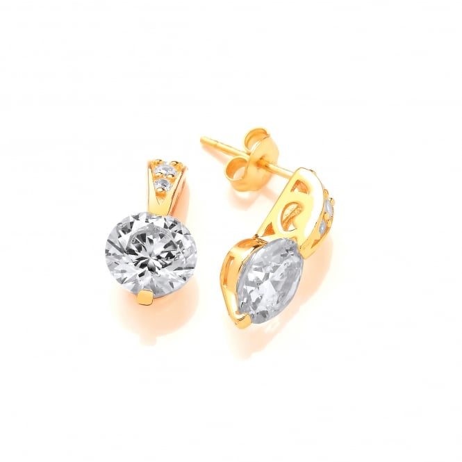 DiamonDust Jewellery Sterling Silver Ornately Set Solitaire Earrings Created with Swarovski® Zirconia