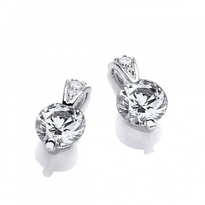 DiamonDust Jewellery Sterling Silver Ornately Set Solitaire Earrings Made with Swarovski Zirconia