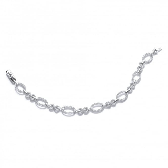 DiamonDust Jewellery Sterling Silver Oval Linked Bracelet Made with Swarovski Zirconia
