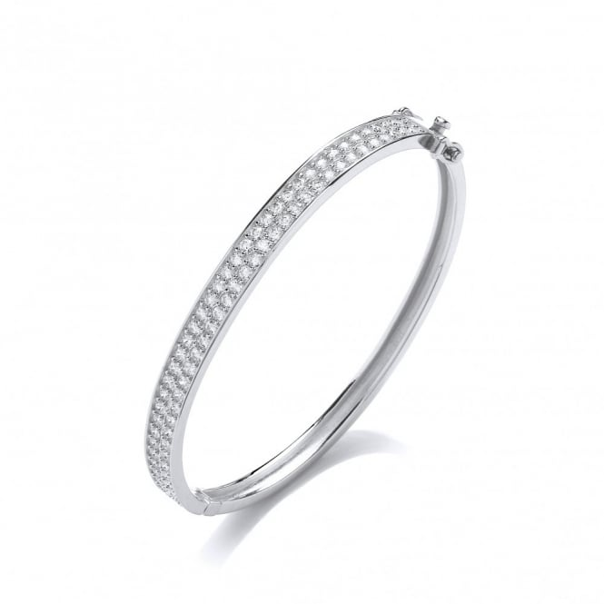 DiamonDust Jewellery Sterling Silver Pave Set Bangle Made with Swarovski Zirconia