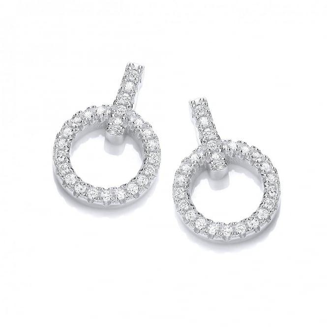 DiamonDust Jewellery Sterling Silver Pave Set Circle Stud Earrings Created with Swarovski® Zirconia