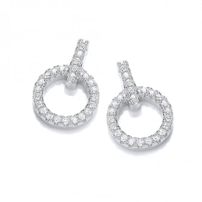 DiamonDust Jewellery Sterling Silver Pave Set Circle Stud Earrings Made With Swarovski Zirconia