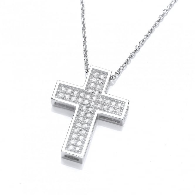 DiamonDust Jewellery Sterling Silver Pave Set Cross Necklace Made With Swarovski® Zirconia