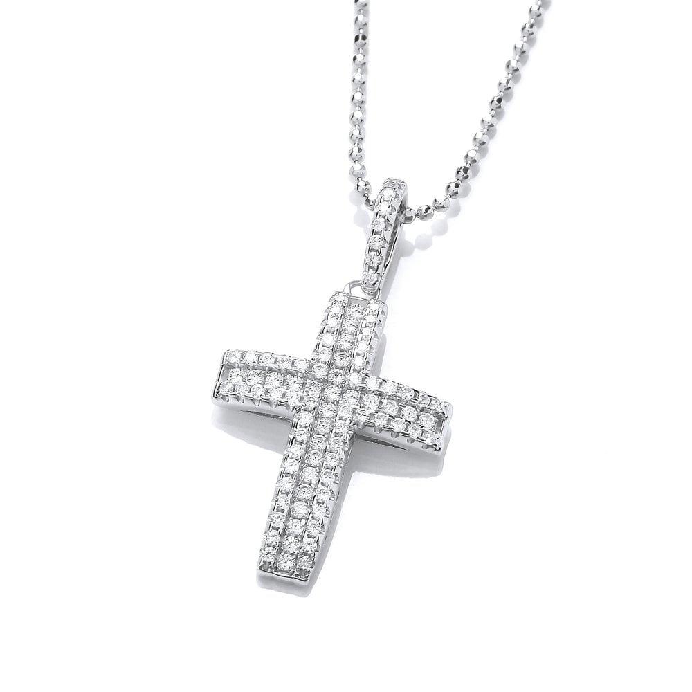 Mártir Ganar Buscar a tientas  Swarovski Zirconia Silver Pave Set Curved Cross Necklace by David Deyong