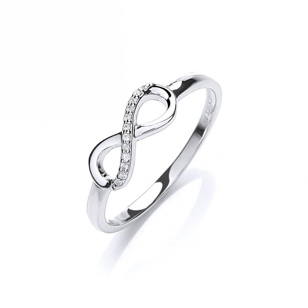 Swarovski Zirconia Pave Set Eternity Silver Ring by David Deyong
