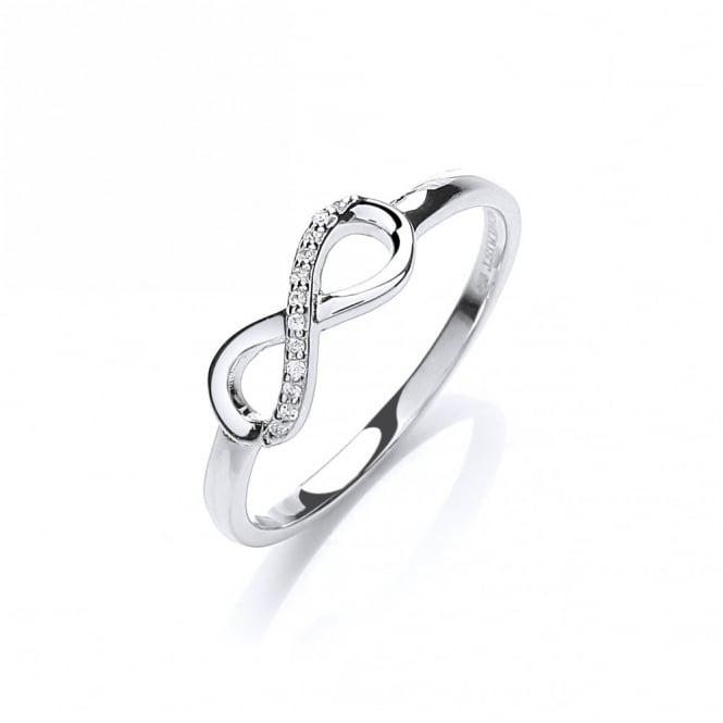 DiamonDust Jewellery Sterling Silver Pave Set Infinity Symbol Ring Made with Swarovski Zirconia